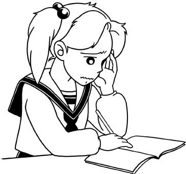 勉強中(困り顔)